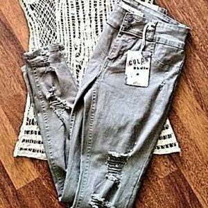 Cello Jeans Color Denim Distressed Skinny! NWT!